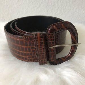 Ann Taylor Tortoise Brown Snake Print Belt Sz M